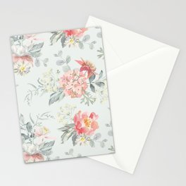 Bouquets of pink flowers and pearly gray leaves Stationery Cards