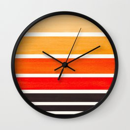 Orange Minimalist Mid Century Modern Color Fields Ombre Watercolor Staggered Squares Wall Clock
