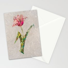 pink tulip on french newsprint background Stationery Cards