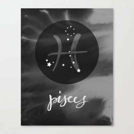 Pisces Zodiac Watercolor Canvas Print