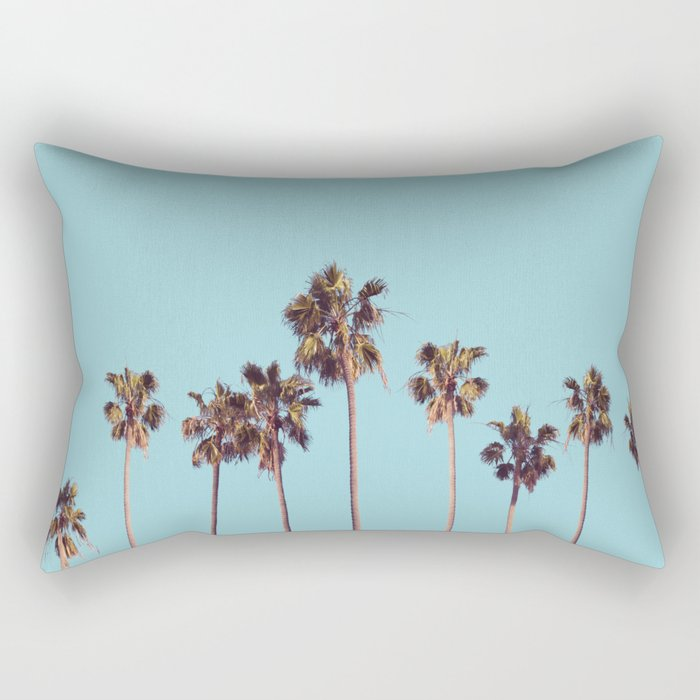 palm trees turquoise Rectangular Pillow