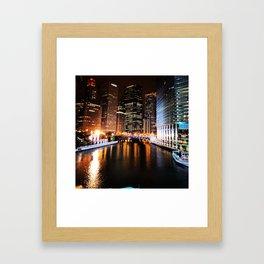 Chicago at Night Framed Art Print