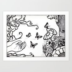 Releasing Butterflies Art Print