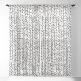 Hand Knit Grey Sheer Curtain