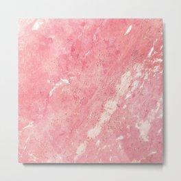 Vintage blush pink white rustic marble Metal Print