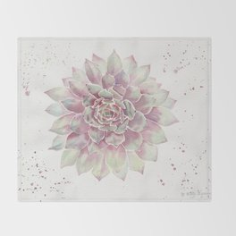Big Succulent Watercolor Throw Blanket