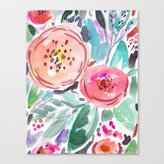 Coral Floral Canvas Print