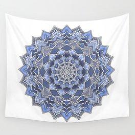 12-Fold Mandala Flower in Blue Wall Tapestry