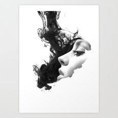 Smoke & woman Art Print