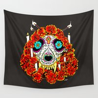 calavera Wall Tapestries featuring lupe calavera by Natte