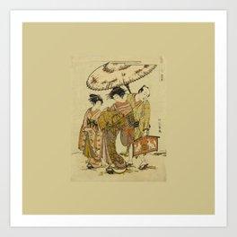 2 Geisha women with a guy Ukiyoe print Art Print