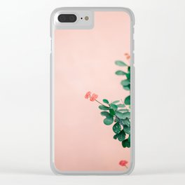 Floral photography print | Green on coral | Botanical photo art Clear iPhone Case