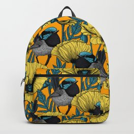 Fairy wren and poppies in yellow Backpack