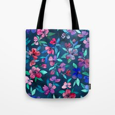 Southern Summer Floral - navy + colors Tote Bag