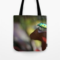 philippines Tote Bags featuring Iridescent Bug (Philippines) by Dr. Tom Osborne