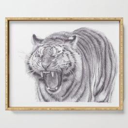 Bengal Tiger Roaring - Big Wild Cat Animal Artwork Drawing Serving Tray