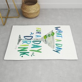 What a Day for a Day Drink – Blue & Green Palette Rug