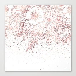 Rose gold hand drawn floral doodles and confetti design Canvas Print