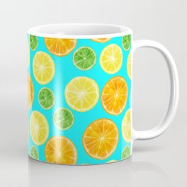 Citrus pattern with blue green background Coffee Mug