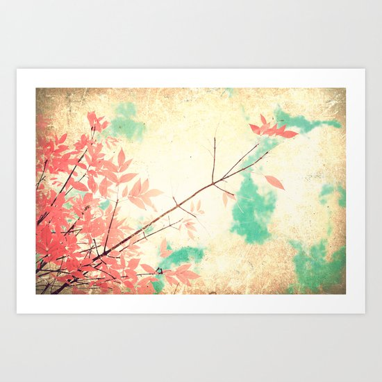 Textured Fall (Vintge Fall pink - orange leafs on textured clouds and blue sky) Art Print