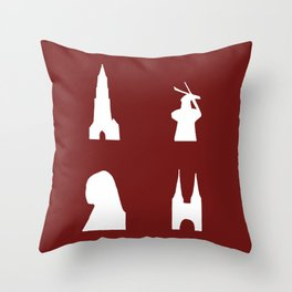 Delft silhouette on red Throw Pillow