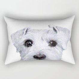 Schnauzer White Dog original painting print Rectangular Pillow