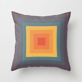 Rainbow Colored Retro Square Shape Throw Pillow
