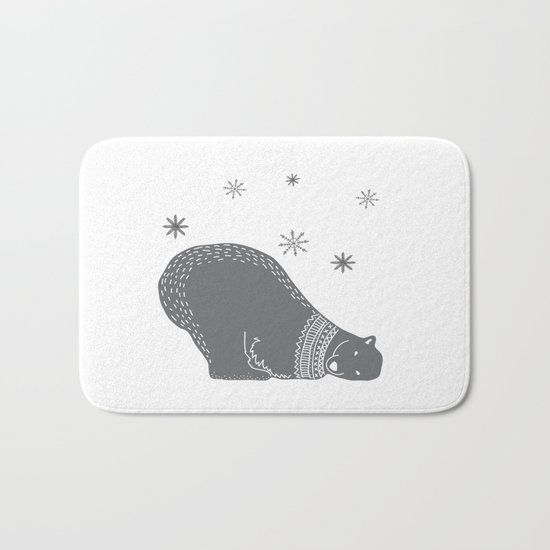 Merry christmas- Polar bear - Animal Watercolor Illustration Bath Mat