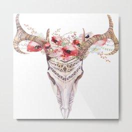 Poppy Tribal Skull Metal Print