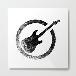 Black Guitar Ink Stamp Metal Print