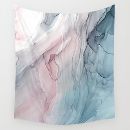 Calming Pastel Flow- Blush, grey and blue Wall Tapestry
