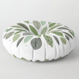 Mid-Century Green Leaves Floor Pillow