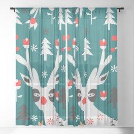 Merry Christmas reindeer Sheer Curtain