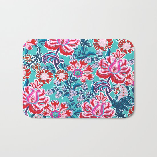 Bohemian Floral Paisley in Turquoise, Red and Pink Bath Mat