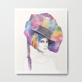 Girl with Headdress Metal Print