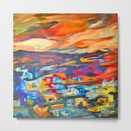 My Village   Colorful Small Mountainy Village Metal Print