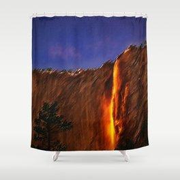 Horsetail Falls - Yosemite Landscape Painting by Jeanpaul Ferro Shower Curtain