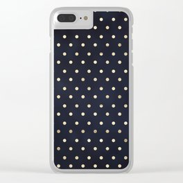 Navy Gold Polka Dots Pattern Clear iPhone Case