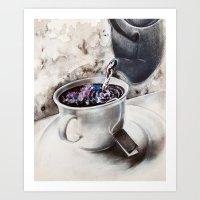Galaxy Tea, tea bagging galaxy mixed media  Art Print