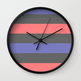 Abstract Matted Pastel Strips - Pink Blue Gray Wall Clock
