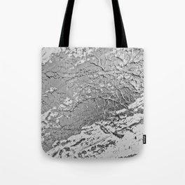 SLICK | Silver monochrome abstract acrylic art by Natalie Burnett Art Tote Bag