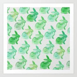 Watercolor Bunnies 1H by Kathy Morton Stanion Art Print