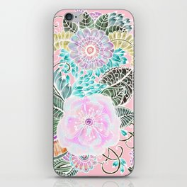 Blush pink lavender green white watercolor hand painted flowers iPhone Skin
