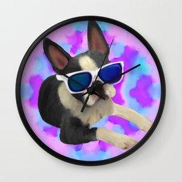 Black Boston Terrier Watercolor Wall Clock