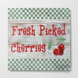 Fresh Picked Cherries Metal Print