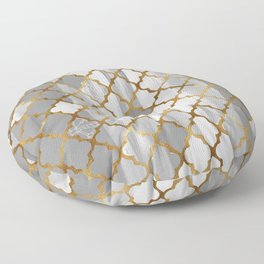 Moroccan Tile Pattern In Grey And Gold Floor Pillow