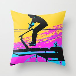 Free Falling - Stunt Scooter Rider Throw Pillow