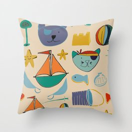 cat and bear pirate at the beach cream Throw Pillow