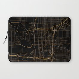 Black and gold Indianapolis map Laptop Sleeve