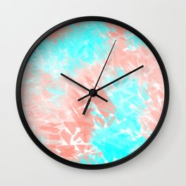 Artsy Modern Coral Cyan Abstract Art Wall Clock